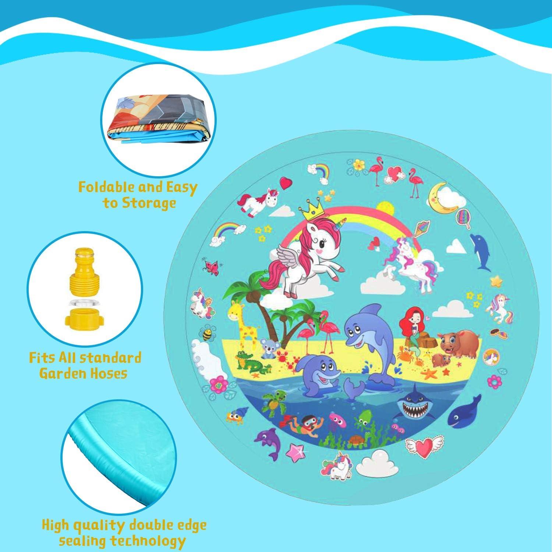Bluegreen-Unicorn TAISHAN Sprinkle /& Splash Play Mat,68/'/' Children/'s Sprinkler Pool,Upgraded Summer Outdoor Water Toys Wading Pool Splash pad,Outside Water Play Mat for 1-12 Children Boys Girls