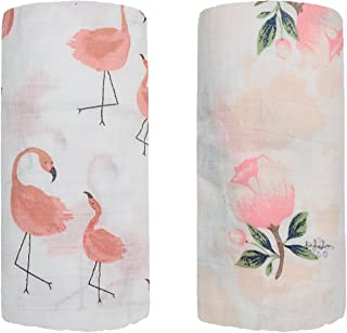 Bamboo Muslin Swaddle Square Blankets - 2 Pack 47'x47' Floral & Flamingo Print Baby Receiving Blanket Wrap for Girl Shower Gift by Qav Juh (Flamingo & Floral)