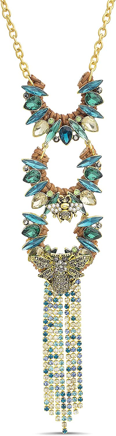 Badgley Mischka Brown Rattan Blue Green Rhinestone Fringe Insect Statement Necklace for Women Adjustable 18 - 21 Inches