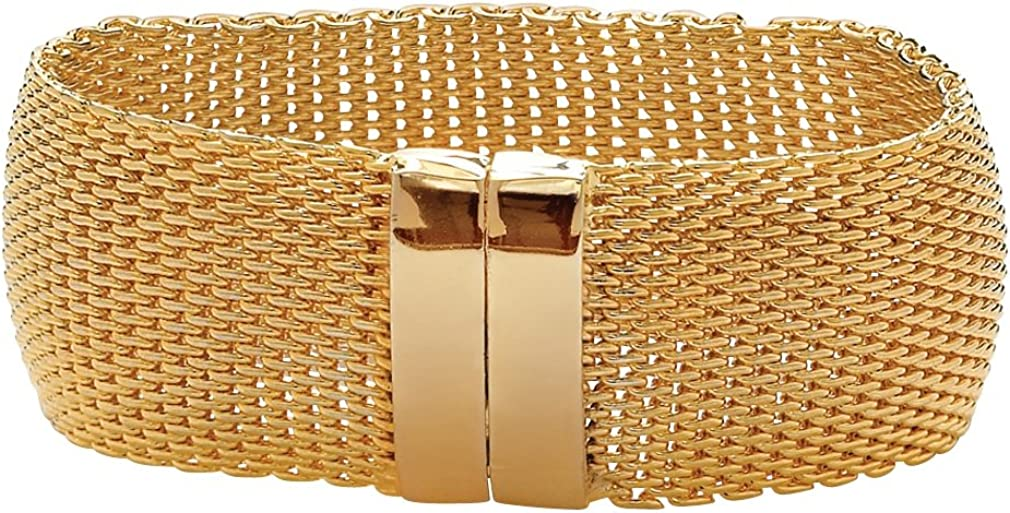 Gold Tone Mesh Bangle Bracelet (27mm), Magnetic Clasp, 8 inches