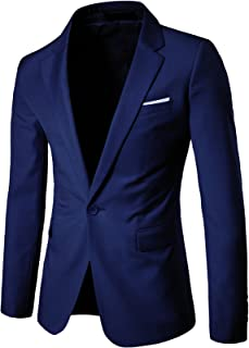 LEOCLOTHO Men's Slim Fit Casual Suit One Button Blazer Business Wedding Party Coat