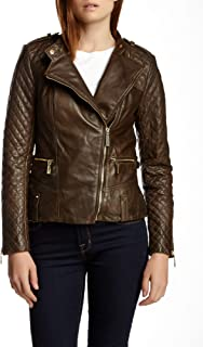 Quilted Asymmetrical Zip Leather Moto Jacket Olive