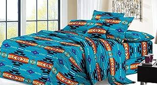 Southwest Design (Navajo Print) Blue 4 piece Comforter Set King Size, Design #16112