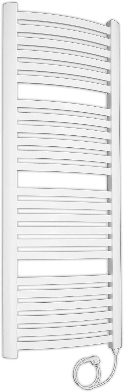 Design Badheizkrper elektrisch mit Stecker komplett befüllt Handtuchheizkrper 1436x542 wei elektro gebogen (600 Watt)