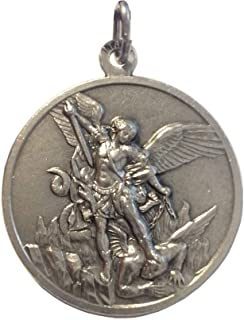 Saint Michael The Archangel Silver Tone Medal - BIg Size - 32 mm - Made in HIGH RELIEF