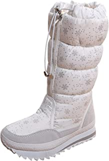Gaorui Women's Lovely Winter Snow Boots Comfort Round Toe Mid Calf Fur Lined Flat Ankle High Eskimo Fur Ski Boots