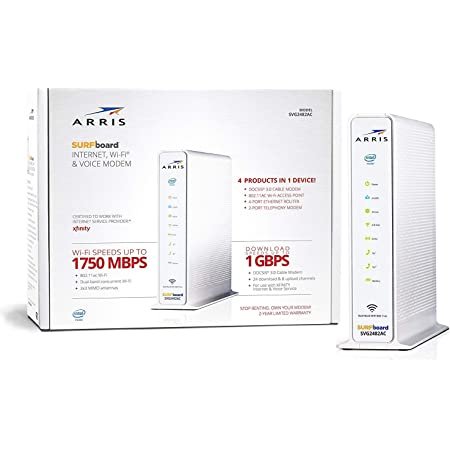 ARRIS SURFboard SVG2482AC DOCSIS 3.0 24x8 Cable Modem & AC1750 Wi-Fi Router, Certified for Xfinity Internet & Voice. Approved for Xfinity plans up to 500 Mbps