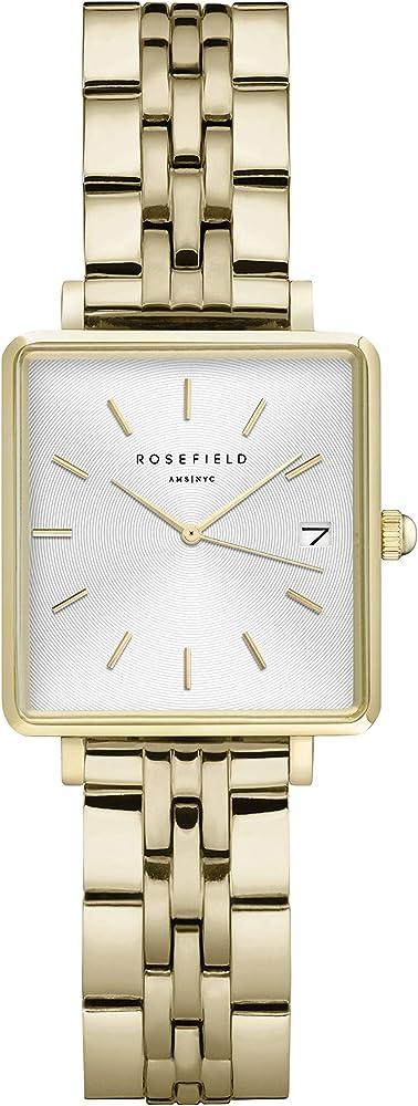 Rosefield the boxy xs, orologio per donna, cassa in ottone, cinturino in acciaio placcato oro 18 kt QMWSG-Q021