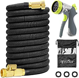 lifecolor 100FT Expandable Garden Hose, Lightweight Expanding Water Hose with Double Latex Core, 3/4 Solid Brass Connector and Extra Strength Fabric with 8 Zinc Function Nozzle
