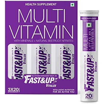 Fast&Up Vitalize Mutivitamin Supplements, One daily with Natural Beetroot Extract for Men and Women - 60 Effervescent Tablets - Orange Flavor