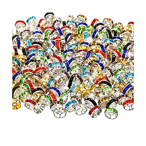 Bememo 200 Pieces Mixed Color Rondelle Beads, 10 Colors for Jewelry Making