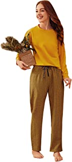 SheIn Women's Solid Long Sleeve Tee and Plaid Pants Pajama Set Sleepwear