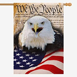 InterestPrint American flag Polyester Garden Flag Outdoor Banner 28 x 40 inch, We the People with Bald Eagle Decorative Large House Flags for Party Yard