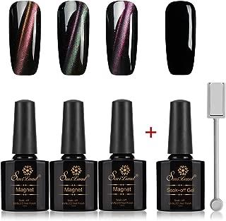 3D Cat Eyes Nail Gel+ 1 Black Gel polish Kit, Saviland Magnetic Chameleon Gel Nail Polish Soak Off UV LED Nail Varnish DIY Nail Art Manicure(10ml/Bottle)