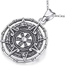 Compass Necklace For Women, Silver Pendant With Zirconia, Mayan Calendar Jewelry Charm