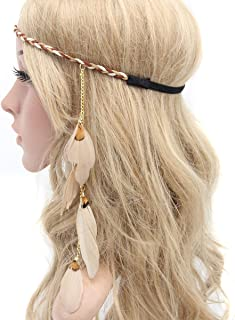 Fodattm Women Lady Bohemian Tassels Hairband Headwear Hippie Feather Headband Hair Hoop Handmade Indian Fascinator Headband Hair Bands Headdress Hair Accessories (A#)