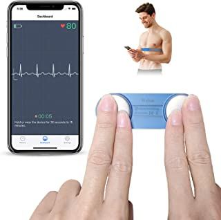 Heart Monitor, Wearable Chest Strap Bluetooth Heart Health Tracker w Free App for iOS & Android Phone, Portable Handheld 3...