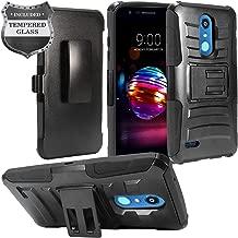 LG K30 LM-X410, Xpression Plus, Phoenix Plus X410AS, Harmony 2, CV3 Prime, Premier Pro LTE L413DL - Hybrid Armor Case w/Stand/Belt Clip Holster + Tempered Glass Screen Protector - CV1 Black