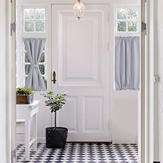 Aquazolax Rod Pocket French Door Curtain - 25x40 Inch Patio Doors Panels Blackout Drape Curtains Room Darkening - Single Panel, Greyish White