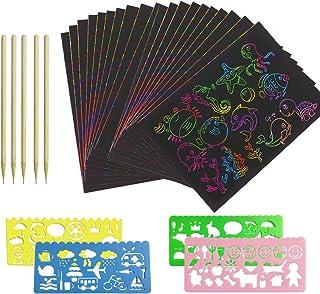 50 Feuilles Carte à Gratter Enfants Dessin à Gratter d'arc en ciel avec 5 Stylos en Bambou 4 Pochoirs