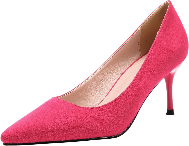 BIGTREE Women Wedding Pumps Pointed Toe Elegant Suede High Heels Dress shoes