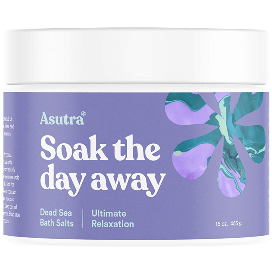 Asutra, Ultimate Relaxation, 100% Pure Dead Sea Bath Salts, Melt Tension Away, Organic Cedarwood, Chamomile, Lavender, Marjoram Essential Oils, Rich in Healing Minerals, 16oz