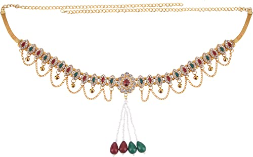 Archi Collection Fashion Jewellery Traditional Gold Plated Kundan Stone Pearl Tassel Kamarband Waist Chain for Women ...