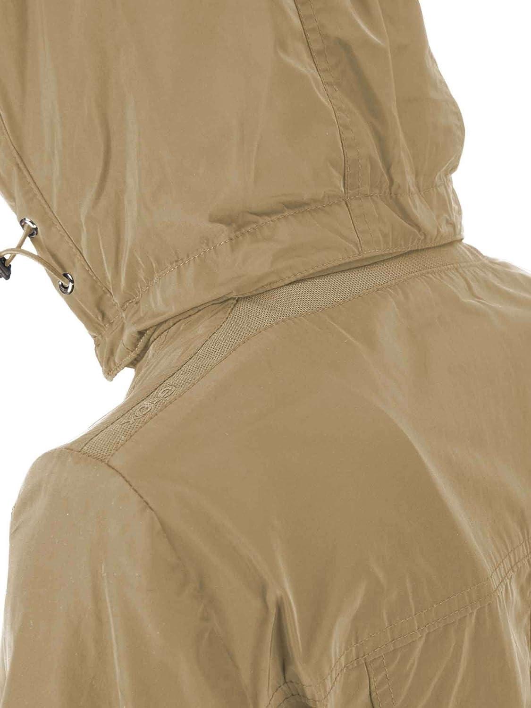 Geox Damen Woman Jacket Parka mit Abnehmbarer Kapuze Jacke Beige