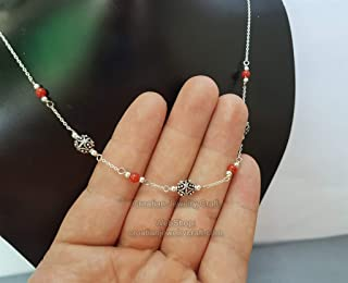 Delicate Red Coral Necklace, Traditional Croatian Filigree Ball Dainty Chain Necklace, Dubrovnik Filigree *Exp Shipping
