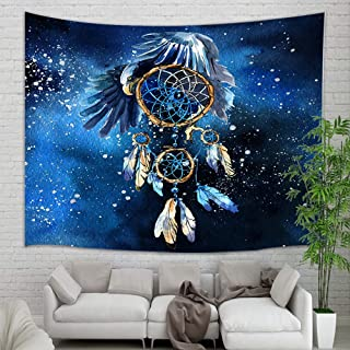 Dream Catcher Feathers Tapestry Bohemia, Watercolor American Wind Chime Style Feathers for Good Luck Tapestry Wall Hanging, Psychedelic Tapestry Wall Blankets for Bedroom Living Room Dorm 71X60 in