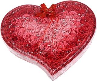 Baosity 約100個 ソープフラワー 石鹸の花 母の日 心の形 ギフトボックス バレンタインデー ホワイトデー 母の日 結婚記念日 プレゼント 4色選択可 - 赤