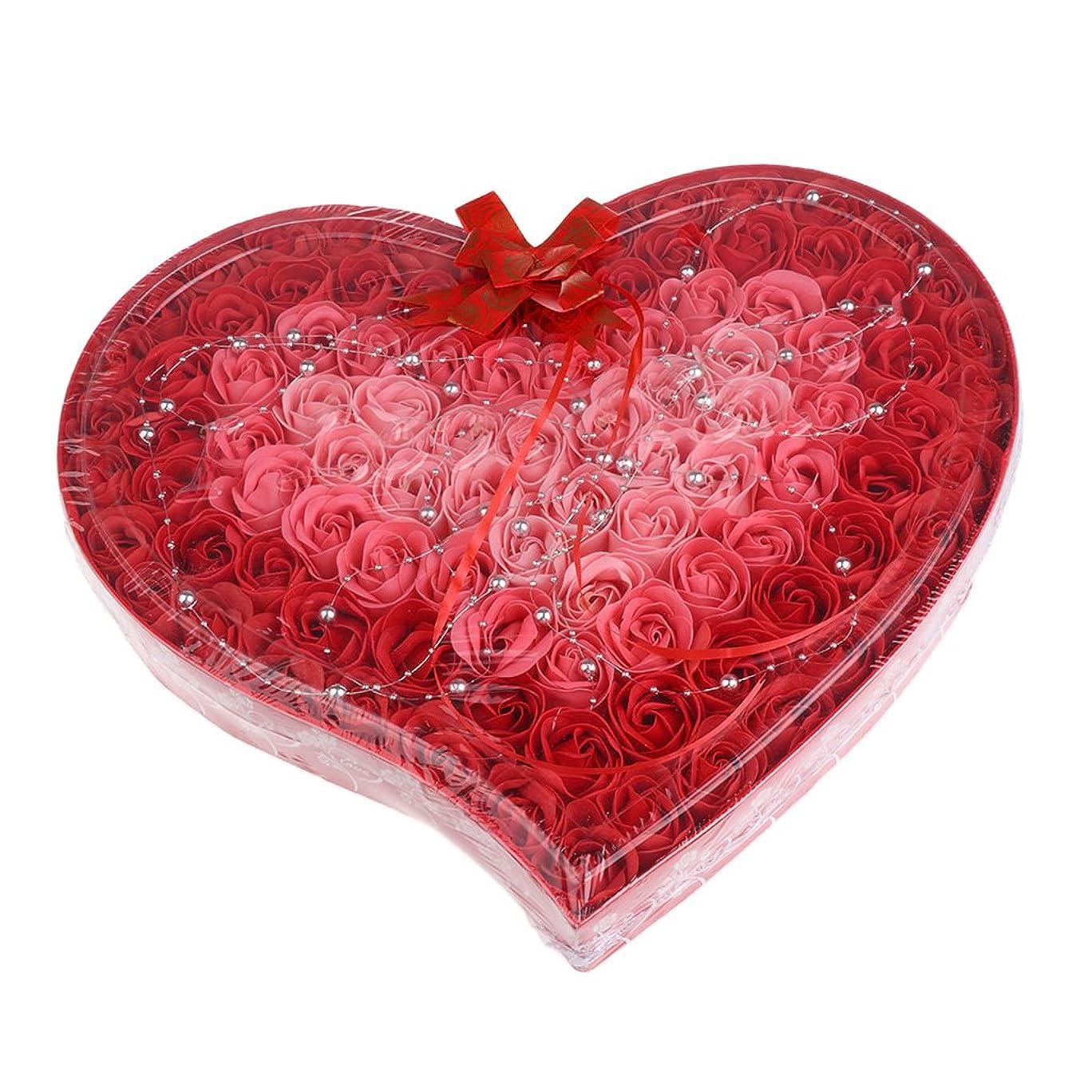 フローティングマニア習熟度Baoblaze 石鹸の花 母の日 プレゼント 石鹸 お花 枯れないお花 心の形 ギフトボックス 約100個 プレゼント 4色選択可 - 赤