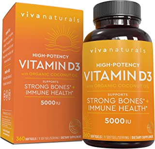 Vitamin D3 5000 IU, 360 Softgels - High Potency Vitamin D Made with Organic Coconut Oil, Vitamin D for Healthy Immune Func...
