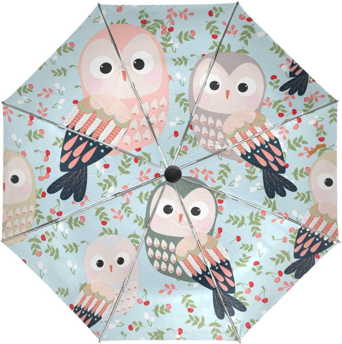 latest Quality inspection Wamika Flower Owl Birds Umbrella Open Close Automatic Windproof