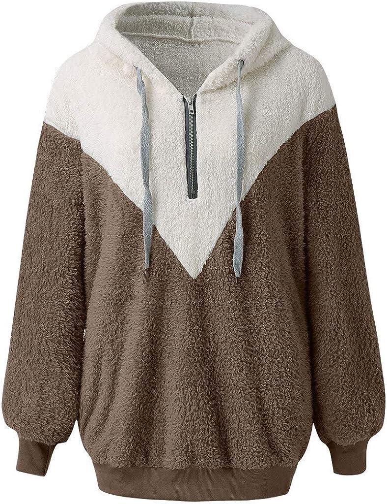 VECDY Damen Jacken,Räumungsverkauf-Frauen mit Kapuze Sweatshirt Mantel Winter warme Wolle Reißverschluss Taschen Baumwolle Mantel Outwear ♚b