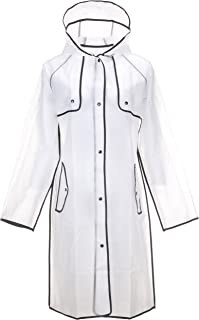 QZUnique Women's Hooded Lightweight EVA Raincoat Waterproof Frosted Transparent with Wrapped Edge