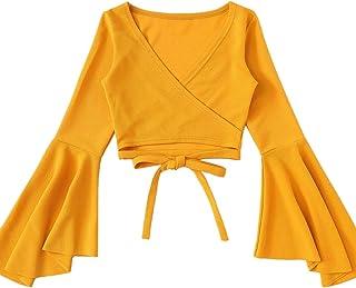 Floerns Women's Plus Size V Neck Flounce Sleeve Tie Front Wrap Blouse Top
