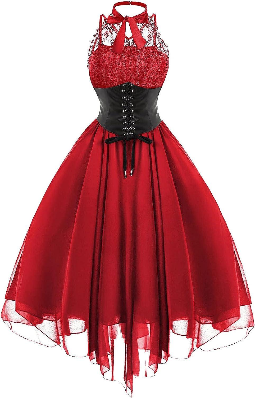 Gothic Punk Dresses for Women Flowy Prom Aline Midi Dresses Lace Halter High Waist Festival Party Dress