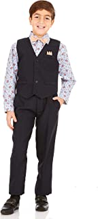 Vittorino Boys 4 Piece Suit Set with Vest, Dress Shirt, Bow Tie, Pants & Pocket Square | Big & Little Kids Formal Apparel