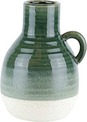 Benjara BM188113 Ribbed Patterned Ceramic Vase with Handle, White and Green