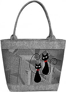 Tasche Damen Henkeltasche Schultertasche Filz Aufdruck Motiv POLO Cat`s