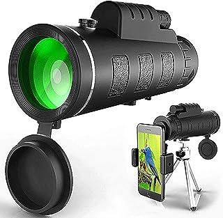 Monocular Telescope,High Power Waterproof Monocular with Smartphone Holder Tripod for Cell Phone.HD Monocular for Bird Wat...