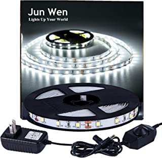 LED Strip Lights Daylight White Dimmable Mirror 300 Units SMD 2835 Rope Lights 5M/16.4 Ft 6000k Non-waterproof LED Tape Ribbon Light with Power Supply Kitchen Under Cabinet Dining Room Bedroom Wedding