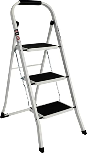 EFINE 3 Step Ladder, Slim Folding Step Stool, High Grade Steel with Smooth Powder Coating, Sturdy and Lightwight, Holding up to 330lbs. (White) (White)