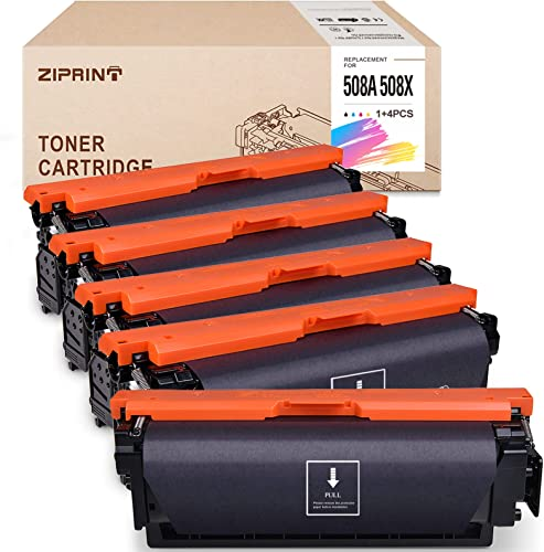 high quality ZIPRINT Compatible Toner Cartridge Replacement for HP 508X 508A 508 CF360X use for outlet sale Color Laserjet Enterprise M553 M553n M553dn M553x M552dn 2021 M577f M577dn M577z (Black Cyan Yellow Magenta, 5-Pack) online