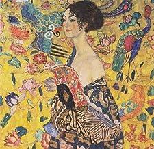 Señora con Abanico Bordado de Diamantes Cuadrados completos Gustav Klimt DIY Mosaico Fotos de artesanías de Pintura de Diamantes de imitación-30x30cm