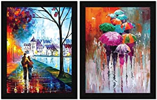 ArtX Paper Abstract Romantic Framed Wall Art Painting For Bedroom, Multicolor, Abstract, 10.5 X 13.5 inches, Set of 2