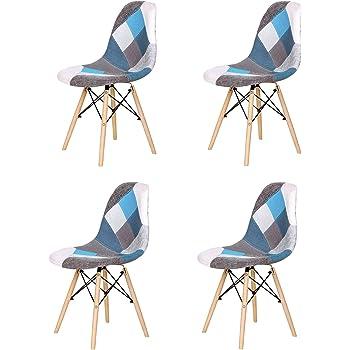 EGOONM Set di 4 Sedie Patchwork Multicolore in Tessuto di Lino Tempo Libero Sedie da Soggiorno Sedie da Pranzo con Schienale con Cuscino Morbido