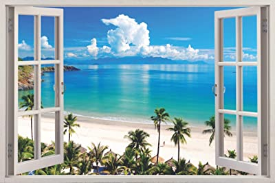 Paper Plane Design 3D Depth Illusion Vinyl Wall Decal Sticker Flat Water Palm Trees Ocean Beach Sea Seascape View 90 cm X 60 cm (3 Feet X 2 Feet) Design : 03