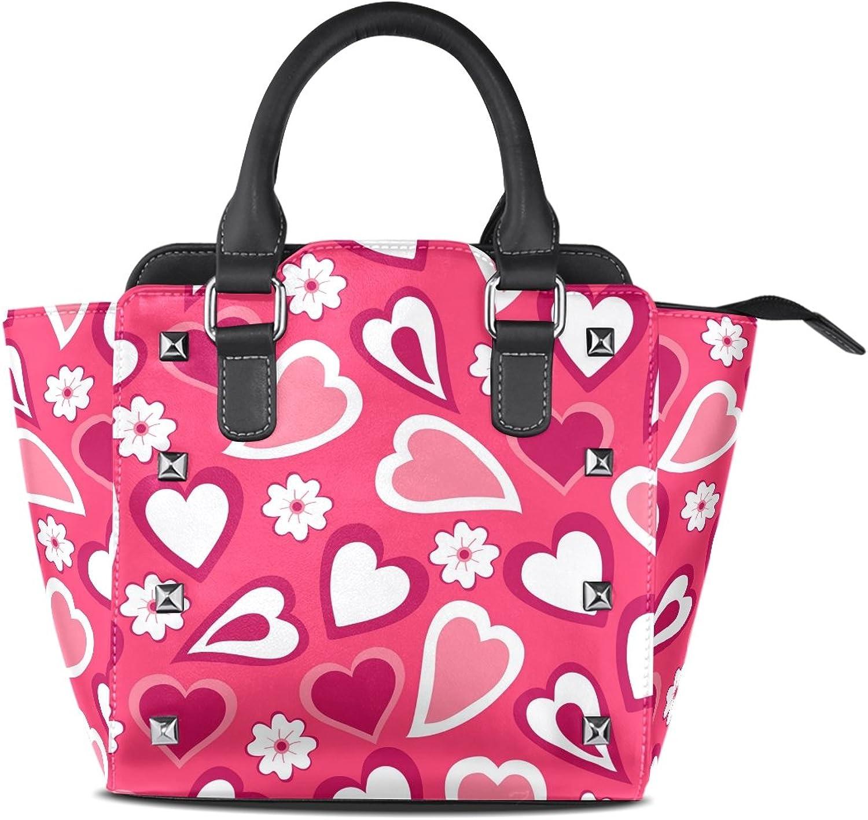 My Little Nest Women's Top Handle Satchel Handbag Romantic Hearts Flowers Ladies PU Leather Shoulder Bag Crossbody Bag